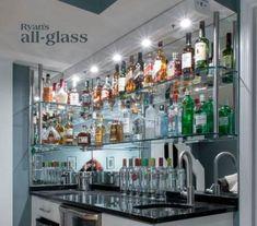 Hanging stack bar with glass shelves and mirror wall, liquor bar, home bar design ideas. Glass Bar Shelves, Wall Bar Shelf, Floating Glass Shelves, Mirror With Shelf, Wall Shelves, Liquor Shelves, Glass Shelf Supports, Liquor Bar, Home Bar Designs