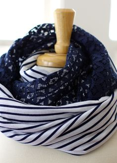 Anthropologie Inspired DIY Scarf - You'll need 2 different fabrics 1/2 yard of each. Line both up right side facing each other. Sew down both long ends, turn right side out...
