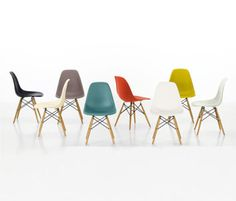 Rainbow of Eames Molded Plastic Chairs