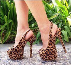 Leopard Print Heels Sexy Jeans