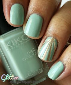 Glitter and Nails: Sunlight & Pastel : Essie Good As Gold + Kiko Jade Green