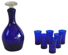 Cobalt Decanter & Shots, S/7 - $185.00