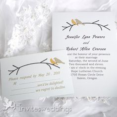 Wedding Invitations Online Birds On Branches Wedding Invitation IWI051 - I like the simplicity, but would choose a more intricate font