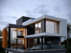 Houses by homify is part of Modern house exterior - Here you will find photos of interior design ideas Get inspired! Modern House Facades, Modern Architecture House, Modern House Plans, Modern Houses, Modern Contemporary Homes, Architecture Plan, Modern Villa Design, House Front Design, Dream House Exterior