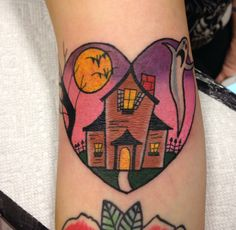 Haunted house tattoo by Joelle Truax at Sacred Art Tattoo in Chandler AZ!