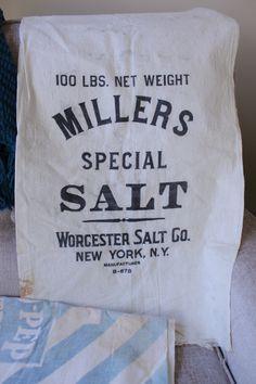 Vintage Muslin Salt Sack, Millers Special Salt Sack, Farmhouse Fabric, Muslin Fabric, Advertising Bag by TomatoFarmVintage on Etsy