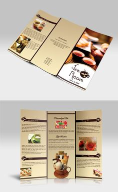 Another interesting way to present information inside the brochure. I like the separation of categories and the use of images without overwhelming the overall theme. Broucher Design, Graphic Design Tips, Hotel Brochure, Brochure Layout, Leaflet Template, Menu Card Design, Pamphlet Design, Creative Brochure, Catalog Design