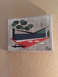 EL GATO GOMEZ PAINTING 1950's 60's Mid Century Modern House With Kitschy Car