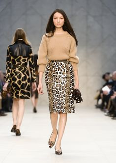 A sculptural cashmere sweater and animal print pencil skirt on the Burberry A/W13 Womenswear runway