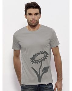 Vlower T-Shirt Opal - Simple Shirt with a big vegan flower on the organic cottonMade in BangladeshPrinted in Austria T Shirt Vegan, Simple Shirts, Vegan Fashion, Longsleeve, Mens Tops, Shopping, Cotton