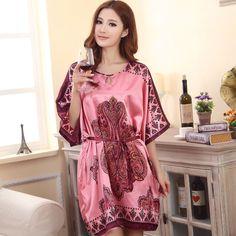 Summer Sexy Silk Nightgown Sleepshirts Women Short-sleeves Plus Size  Sleepwear Lounge Casual Satin Silky Nightwear Female Dress 3982e01d2