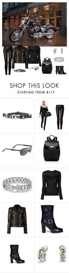 """Black Leather Biker"" by horcal ❤ liked on Polyvore featuring Hollywood Trading Company, Balmain, Maui Jim, Alexander Wang, David Yurman and Jimmy Choo"