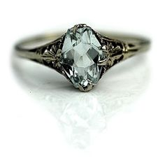RESERVED RESERVED 1.25 Carat Rectangular Cut Aquamarine Engagement Ring in 14 Kt White Gold