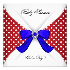 Baby Shower Gender Reveal Red White Blue Polka Dot Announcements