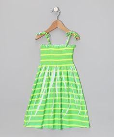 Green & Yellow Stripe Smocked Dress - Toddler & Girls