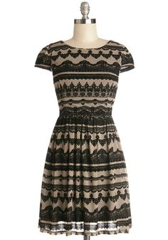 E-Book Launch Party Dress - Knit, Mid-length, Tan / Cream, Black, Print, Party, A-line, Cap Sleeves, Better, Vintage Inspired, 20s