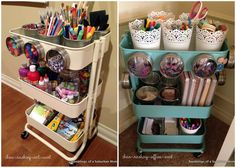 My crafty oasis - IKEA Raskog cart - so awesome for organizing all of my sewing notions. Love the idea of magnet containers on the outside, plus hanging Grundtal containers from the edges.