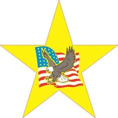 Patriotic Star with Eagle and Flag Sticker