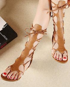 Open Toe Knee High Hollow Out PU Leather Gladiator Sandals Lace Up Gladiator Sandals, Strap Sandals, Wedge Sandals, Sexy Sandals, Expensive Shoes, New Shoes, Discount Shoes, Sneakers Fashion, Sneakers Style