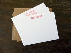 Hey Dude Letterpress Flat Notecards Set of 10 by IronLeafPress