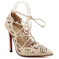 8419f7a06 Sexy Women s Pumps With Hollow Out and Lace-Up Design in APRICOT