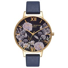 Buy Olivia Burton OB16EG55 Women's Enchanted Garden Leather Strap Watch, Navy Online at johnlewis.com -  £85.00    2 year guarantee included Product code :42945104