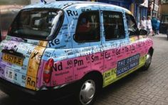 A taxi dressed as a Periodic Table used to advertise The Oxford Science Park: Chemistry Humor, Chemistry Lessons, Chemistry Teacher, Science Chemistry, Science Humor, Funny Science, Science Fun, Science Classroom, Teaching Science