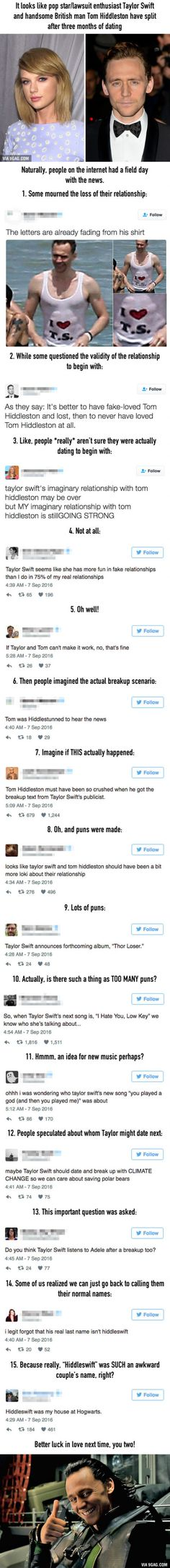 People Are Losing It Because It Looks Like Taylor Swift And Tom Hiddleston Split