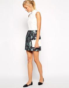 Oasis Winter Rose Jacquard Skirt