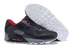 Now Buy Nike Air Max 90 Black Red Grey Mens Running Shoes Save Up From Outlet Store at Nikelebron. Nike Air Max, Mens Nike Air, Air Max 1, Running Nike, Running Shoes For Men, Mens Running, Air Max Leopard, Nike Sportswear, Air Max 90 Noir