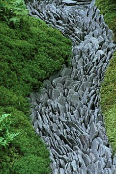 Clive Nichols photo- CHELSEA_FLOWERSHOW_2004 Japanese Garden by The Japanese Garden Society- Dry Stream of Welsh Slate Paddle Stones surrounded by Moss