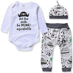 4e394c55455 Amazon.com  Infant Baby Boys Girls 3 Pieces Bodysuit Pants   Hat Cute  Prints Outfit Set (70(0-6m)
