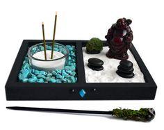 Mini jardín Zen / / estatua de Buddha de risa / / por NeonFoxArt
