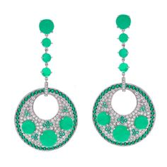 Chrysoprase Emerald Diamond Gold Earrings | From a unique collection of vintage drop earrings at https://www.1stdibs.com/jewelry/earrings/drop-earrings/
