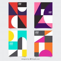 Modern set of cover templates with geometric design Free Vector : Modern set of cover templates with geometric design Free Vector Geometric Graphic Design, Geometric Poster, Graphic Design Posters, Graphic Design Typography, Geometric Designs, Geometric Art, Graphic Design Illustration, Corporate Design, Branding Design