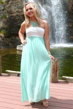 Mint & White Chiffon Maxi Dress