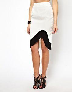 Pencil Skirt With Uneven Hem