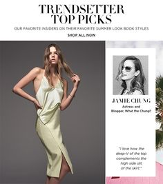 """Trendsetter Top Picks: """"I love how the deep-v of the top complements the high side slit of the skirt."""" - Jamie Chung"""