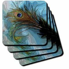 "Abstract Peacock Feather II - Set Of 4 Ceramic Tile Coasters by 3dRose LLC. $19.99. Comes with protective felt pads (packed separately). High gloss finish. Construction grade. Dimensions: 4"" H x 4"" W x 1/4"" D. Not absorbent. Abstract Peacock Feather II Coaster is a great complement to any home décor. Soft coasters are 3.5"" x 3.5"", are absorbent, and can be washed. Ceramic coasters are 4.25"" x 4.25"", non absorbent and come with felt corner pads. Available in sets..."
