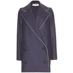 DOUBLE-BREASTED WOOL COAT WITH CONTRAST PIPING Stella McCartney