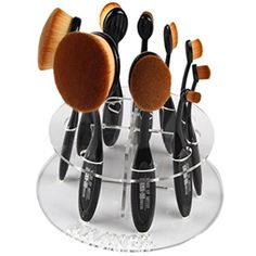 LandFox 10 Hole Oval Makeup Brush Holder Drying Rack Organizer Cosmetic Shelf Tool (Clear) * Learn more by visiting the image link. (This is an affiliate link) #Makeup