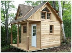 Cabana Village builds cabin kits and cottage bunkies to be used as weekenders, lakeside cottages, starter cabins or backyard retreats Tiny Cabins, Tiny House Cabin, Cabins And Cottages, Tiny House Living, Log Cabins, Little Cabin, Little Houses, Ideas Cabaña, Cabin Loft