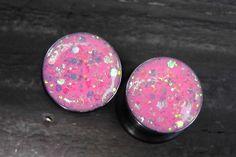 Pink Iridescent Sparkle plugs gauges embedded resin filled - Made to Order 2, 0, 00,1/2, 9/16, 5/8, 3/4, 7/8. $15.00, via Etsy.