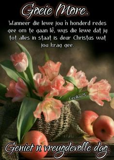 Morning Messages, Morning Greeting, Lekker Dag, Goeie More, Afrikaans Quotes, Good Morning Quotes, Wees, Thoughts, Ideas