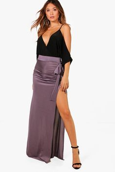 Click here to find out about the Riley Slinky Bow & Split Extreme Maxi Skirt from Boohoo, part of our latest Skirts collection ready to shop online today!