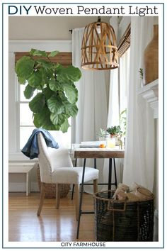 How I Saved My Fiddle Leaf Ficus Tree By Doing 6 Simple Things - City Farmhouse Diy Pendant Light, Diy Light, Pendant Lights, Basket Lighting, Lighting Ideas, Ficus Tree, Bonsai Trees, Fiddle Leaf Fig Tree, Indoor Plants