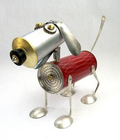 Atli 511 – Found object robot dog assemblage sculpture by Brian Marshall - Assemblage Art Aluminum Can Crafts, Tin Can Crafts, Metal Crafts, Recycled Robot, Recycled Crafts, Metal Yard Art, Scrap Metal Art, Arte Assemblage, Metal Sculpture Wall Art