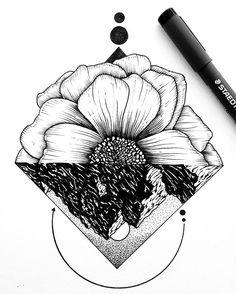 Flip it upside down. #mountains #flower #design #sketch #art #drawing…