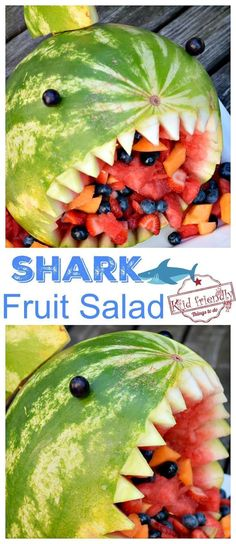 Great shark fruit salad for a shark party food idea .- Great Shark Fruit Salad for a Shark Party Food Idea …, Fantastic Shark Fruit Salad for a Shark Party Food Idea – DIY Watermelon Shark Idea for a Fun Fruit Salad for Kids – www. Watermelon Birthday Parties, Fruit Party, Fun Fruit, Fruit Ideas, Food Ideas, Best Fruit Salad, Fruit Salad Recipes, Food Salad, Quinoa Salad