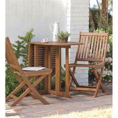 Folding Eucalyptus Wood 3-Piece Outdoor Bistro Set | Outdoor Seating